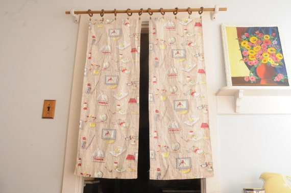 Items Similar To Pair Barkcloth Curtain Panels Masculine