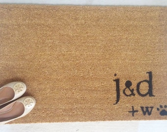 Couples Door Mat  Custom Made With Initials And Pet/Pawprint For Dog Or Cat