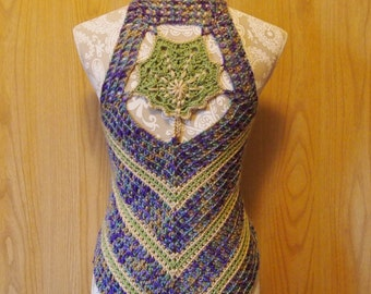 Spring leaves crochet vest, pastel lace up top, leafy back
