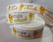 """Easter egg Ribbon, Easter ribbon, cute chick Ribbon, Easter Grosgrain Ribbon, Easter craft supplies, holiday ribbon, 1"""" Ribbon, RN14839"""