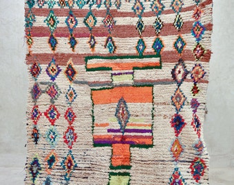 """Find A New REMARKABLE EXOTIC REASON 6'7"""" x 4'5"""" Boucherouite Rug. Tapis Moroccan. Mid Century Modern Danish Design Compliment. FA15-107"""