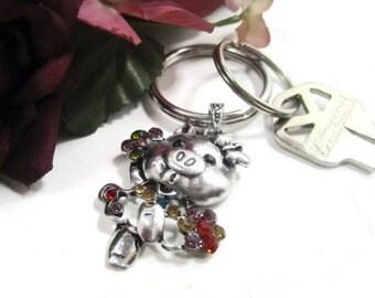 Jewel Pig Keyring, Key Ring, Keychain, Key Chain