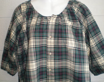 """Cotton Peasant Blouse upcycled from a men's shirt, 52"""" ladies XL, green and navy plaid, tunic shirt, maternity shirt, loose shirt, casual"""