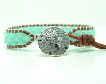 Beaded Leather Wrap Bracelet, Milky Peridot Beaded Wrap Bracelet, Ladder Super Duo Wrap Bracelet, Boho, Single Wrap Bracelet