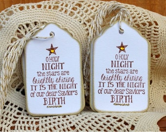 Christmas Gift Tags - Set of 12 Christmas Gift Tags - O Holy Night....