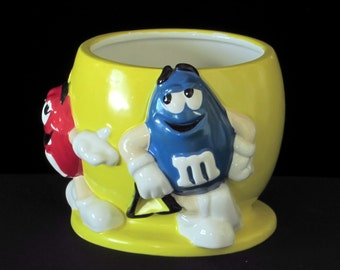 Vintage M&Ms Candy Planter - Container - Jar - Bright Yellow Kitsch - Happy Vintage Home Decor