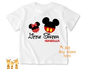 Little sister shirt mickeyminnie Tshirt - Personalized Little brother Shirt or Bodysuit - 050_BB_2C_mickeyminnie