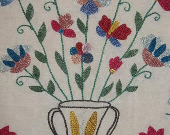 Uzbek Silk Hand Embroidery Small Suzani Napkin Flowers