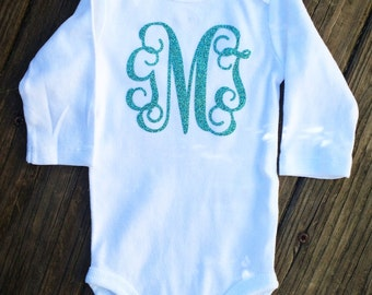 Long Sleeve Glitter Monogram Baby Girl Bodysuit