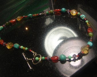 "Gemstone Necklace- Multi Stones, 15 grms, 15"", sterling findings 1509"