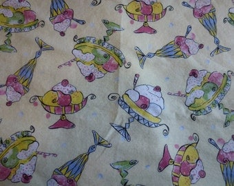 """35"""" of Quality Flannel Fabric by Fabric Traditions With Cute Ice Cream Sundae's"""