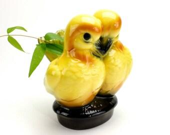 Vintage Lovebirds Planter, Yellow Bird Planter, Bird Planter, Vase, Lovebirds Ceramic Planter, Mid Century Love Birds Planter, Epsteam