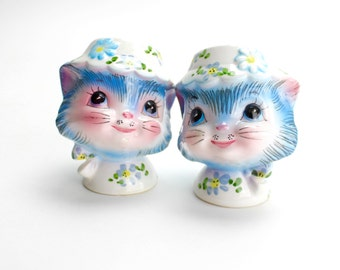 Vintage Lefton Miss Priss Salt and Pepper Shakers, Miss Kitty Salt and Pepper, Kitsch Shakers, 1950s Kitchen, Blue Cat Kitten Epsteam - 2