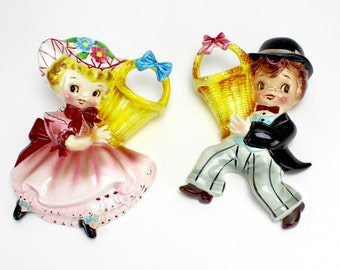 Vintage Lefton Miss Dainty Mr Cutie Pie Wall Pocket Set, MINT, Dainty Miss, Dapper Boy, Kitsch, Plaque, Lefton 2628 Collectible, Epsteam