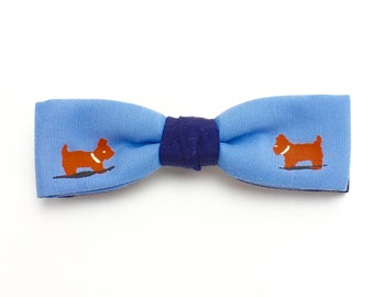 Vintage Boys Bow Tie, Clip On Bow Tie with Puppies, Blue Bow Tie, Easter Outfit, Ring Bearer Tie Boys Ties, Beau Junior Tie in Case, Epsteam