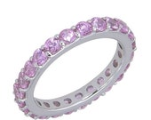 Valentines Day Sale Pink Sapphire Eternity Ring 18K White Gold (5ct tw) SKU: 1862-18K-Wg