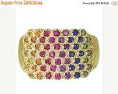 Valentines Day Sale Multicolor Rainbow Sapphire Womens Fashion Ring 14K Yellow Gold  : sku 1597-14K-YG
