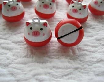 Cute Pig Bells.Barnyard bells.Pig bells.pig charms.