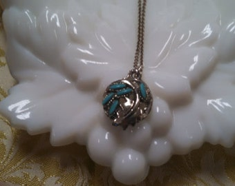 Costume Necklace in Teal Blue and Silver Tone