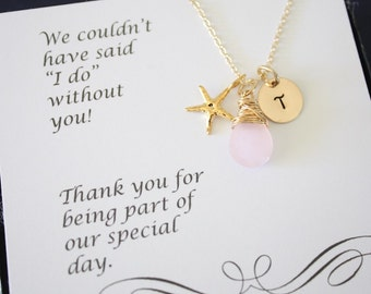 6 Bridesmaid Gift Personalized Gold Starfish, Bridesmaid Necklace, Beach Wedding, Gold, Gemstone, Initial jewelry, Thank you Card, Pink