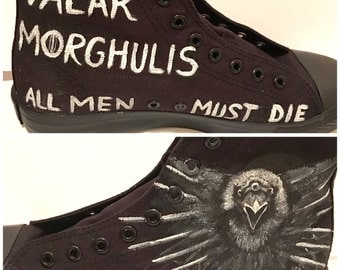 Three eyed raven game of thrones  - Custom hand painted converse style shoes