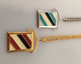 TWO (2) 1970s Vintage ENAMELED Pendant Necklaces DEADSTOCK Never Worn