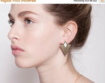 Summer Sale stud earrings, gold earrings, geometric earrings.