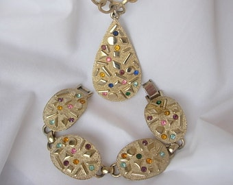 Sarah Coventry Sultana Necklace Bracelet Demi Parure Confetti Multi Color Rhinestones Vintage Gold Tone Textured Metal Linked Chain 1960's