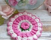 Vintage Pink Rose Crochet Hot Pad, Vintage Doily, Vintage Pot Holder, Vintage Linens, Antique Crochet Linen, Pink and White Crocheted Linen
