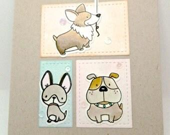 Happy Birthday, Dog lover card, Dog holding balloon, Corgi, Bulldog, Chihuahau, Pun card