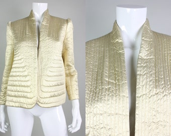 1980's Gold Trapunto Quilted Jacket Vintage Glam