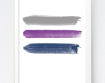 Grey Purple Blue Brushes Stroke Wall Print, Abstract and Minimalist Grey Navy Violet Home or Office Decoration, INSTANT DOWNLOAD