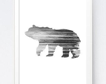Bear Wall Art, Bear Printable, Bear Print, Black and White Bear Print, Black White Bear Wall Art, Bear Home Decor, INSTANT DOWNLOAD