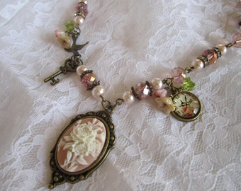 Pink Cameo with Ivory Flowers Necklace Key to My Heart Time Stands Still Shabby Chic Bronze Necklace