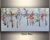 First Snow, Oil Painting by Tatjana, Original Art, Abstract Painting, Original Painting, Abstract Landscape Painting, Modern Art Painting