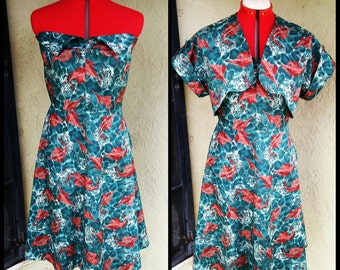 1950's Sun Dress Reproduction- Pointy Bust- Fold Over Bust- Bolero optional- Vintage Pattern- Vintage Sewing Notions-Custom Made to Order