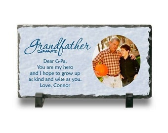 Customized Slate Photo Plaque for Grandpa