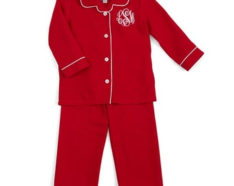 Unisex Baby Red Christmas 2 Pc Flannel Pajamas Red w/ White Piping Trim-Monogram included