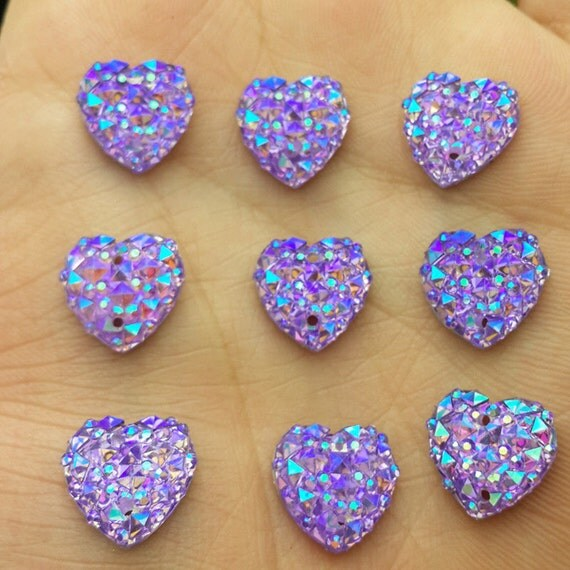 Purple AB Flat Back Heart Sew On Resin Rhinestones Embellishment Gems