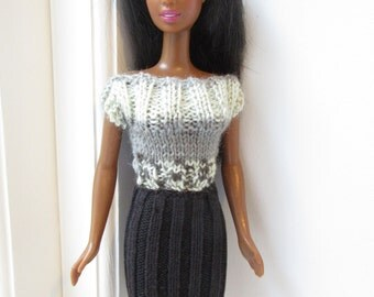 Barbie clothes - black skirt with grey striped top