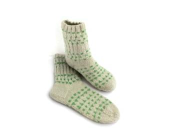 Wool Women Socks. Hand Knitted Winter Socks. M women socks size