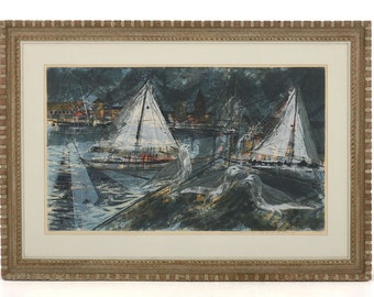 Large Sailboat Artwork, Howard Bradford Serigraph, Signed Numbered Print, Well Listed Artist from Canada, California Boats and Segulls