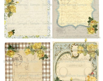 Vintage Roses Country Shabby - Printable Digital Collage Sheet - Digital Download 3X4 Cards