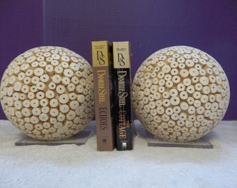 ON SALE!!!  Vintage ? Modern Space Age Organic Decor Ball Bookends Lucite Acrylic 223132