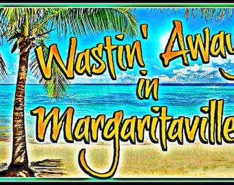 "Tiki Bar Margaritaville! All Weather 8""X12"" Metal Sign Made in Hawaii USA Tiki Bar Happy Hour Luau Pool Beach Hot Tub"