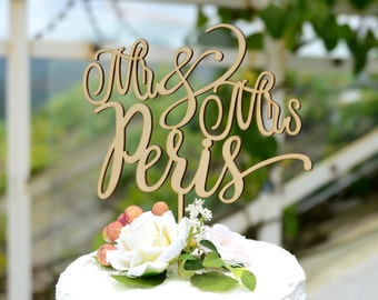 Wedding Cake Topper, Rustic Wood Mr and Mrs Cake Topper, Cake Topper with YOUR Last Name 136
