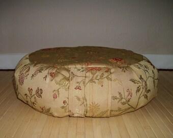 "Gold Brocade Zafu. Meditation Cushion. Floor Pillow. Gold Floral Brocade Fabric. 15x5. Unfilled Cover. 6"" long Sidewall Zipper. USA made"