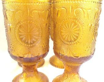 4  Mid Century Amber Sandwich Glass Goblets