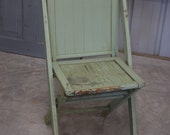 Vintage Chippy Shabby Mint Green Painted 1940s Solid Wood Folding Chair