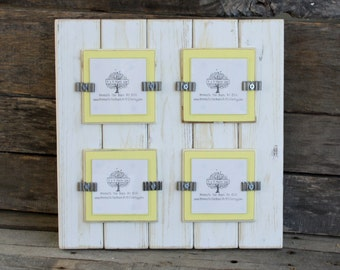 Picture Frame - Distressed Wood - Holds 4 - 3x3 Photos - Square Frame - White & Light Yellow